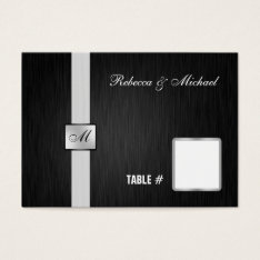 Elegant Black And Silver Monogram Place Cards at Zazzle