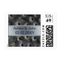 elegant black and silver peacock postage