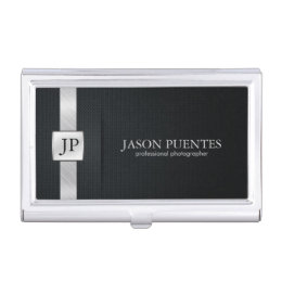 Business card holders cases zazzle elegant black and silver professional business card holder colourmoves
