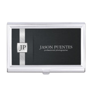 Business card holders cases zazzle elegant black and silver professional business card holder reheart Gallery