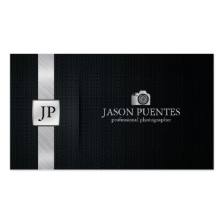 Elegant Black and Silver Professional Photographer Business Card