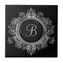Elegant Black and silver single initial monogram Tile