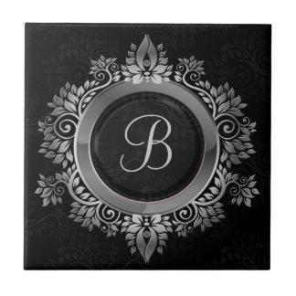 Elegant Black and silver single initial monogram Ceramic Tile