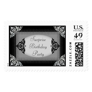Elegant Black and Silver Surprise Birthday Party Postage Stamp