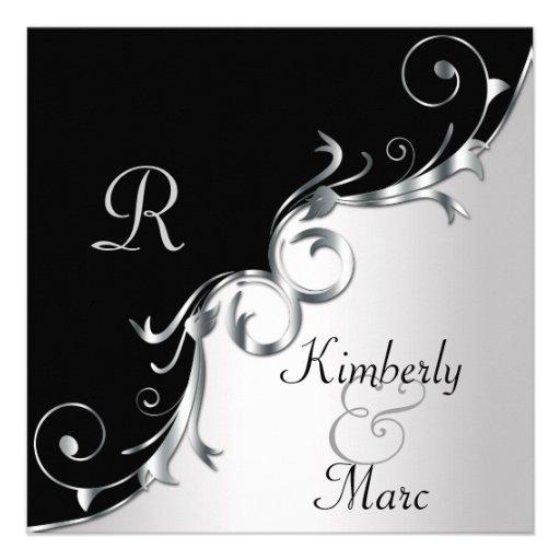 Elegant Black and Silver Swirls Wedding Invitation