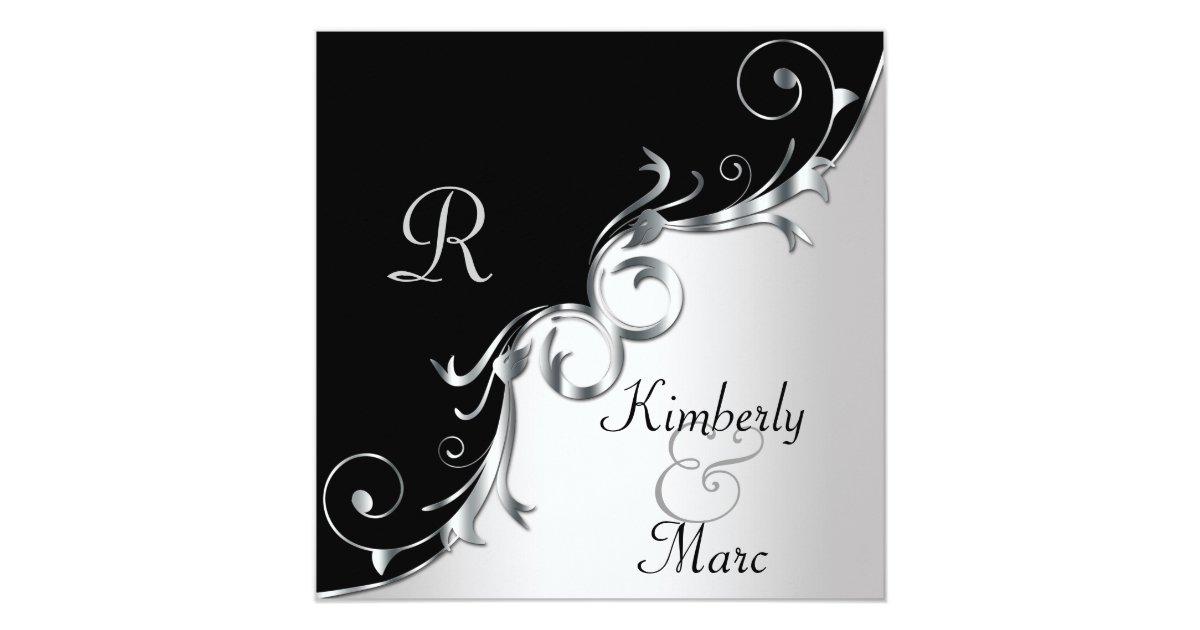Black And Silver Wedding Invitations: Elegant Black And Silver Swirls Wedding Invitation