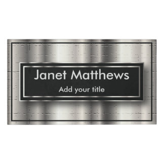 Elegant Black and Silver Texture Design Name Tag
