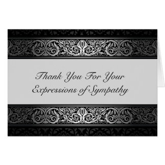Elegant Black and Silver Thank You For Your Sympat Greeting Card