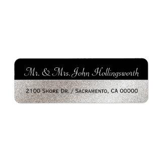 Elegant Black and Silver Tone Return Address Label