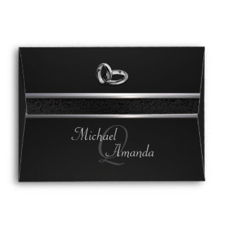 Elegant Black and Silver Wedding Envelope