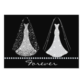 Elegant Black and Silver Wedding Invitation