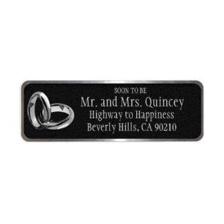 Elegant Black and Silver Wedding Return Address Labels