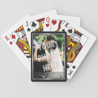 Elegant Black and Silver Wedding Photo Template Playing Cards