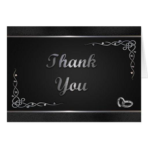 Ypus Silver Wedding Thank: Elegant Black And Silver Wedding Thank You Cards