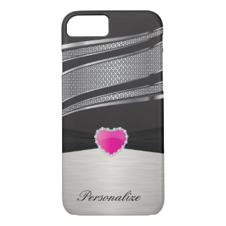 Elegant Black and Silver with Pink Heart Jewel iPhone 7 Case