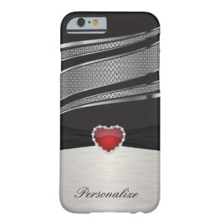 Elegant Black and Silver with Red Heart Jewel Barely There iPhone 6 Case