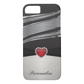 Elegant Black and Silver with Red Heart Jewel iPhone 7 Case