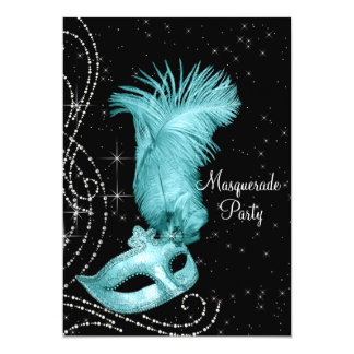 Elegant Black and Teal Blue Masquerade Party Custom Invitations
