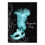 Elegant Black and Teal Blue Masquerade Party Custom Invitations