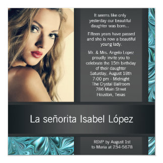 Elegant Black and Teal Blue Photo Quinceanera Card