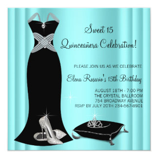 Elegant Black and Teal Blue Quinceanera Card