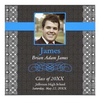 Elegant Black and True Blue -Graduation invites