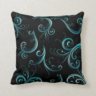 Elegant Black and Turquoise Floral Pattern Throw Pillow