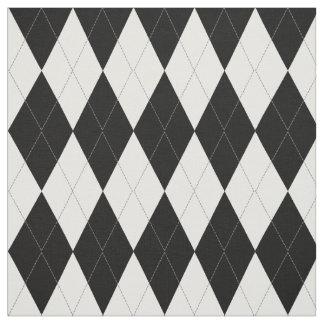 Elegant Black And White Argyle Pattern Fabric
