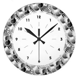 Elegant Black and White Art Deco 1920s Glamour Large Clock
