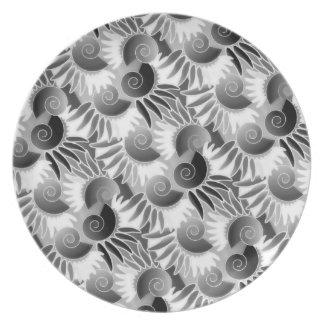 Elegant Black and White Art Deco 1920s Glamour Melamine Plate