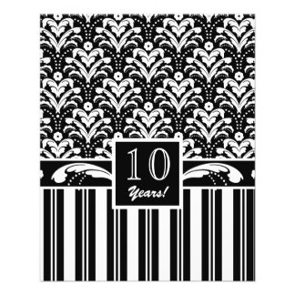 Elegant Black and White Art Deco Damask Stripes Flyer