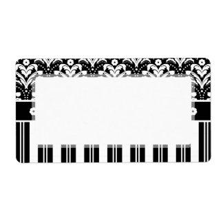Elegant Black and White Art Deco Damask Stripes Label