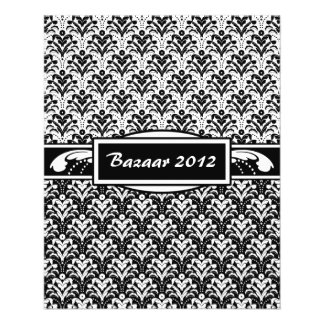 Elegant Black and White Art Deco Floral Damask Flyer