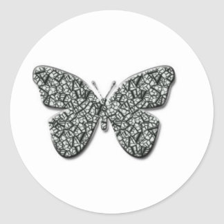 Elegant Black And White  Butterfly Classic Round Sticker