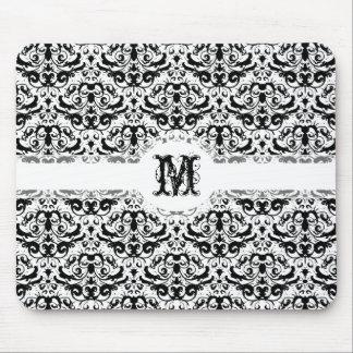 Elegant Black and White Calligraphic Damask Mouse Pad