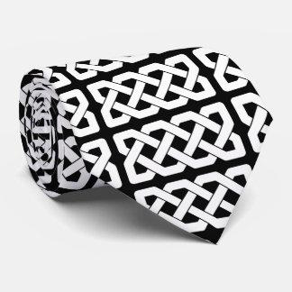 Elegant Black and White Celtic Knot Pattern Tie