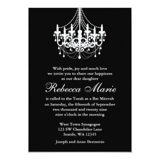 Elegant Black and White Chandelier Bat Mitzvah Card