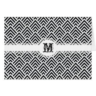Elegant Black and White Chevron Geometric Pattern Card