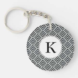 Elegant Black and White Chevron Geometric Pattern Double-Sided Round Acrylic Keychain