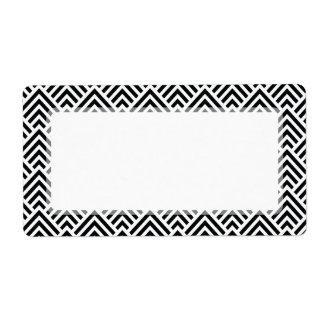 Elegant Black and White Chevron Geometric Pattern Label