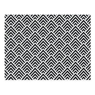 Elegant Black and White Chevron Geometric Pattern Postcard