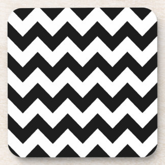 elegant black and white chevron stripes beverage coaster