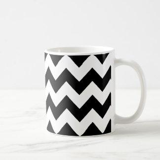 elegant black and white chevron stripes coffee mug
