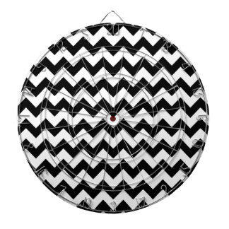 elegant black and white chevron stripes dartboard with darts