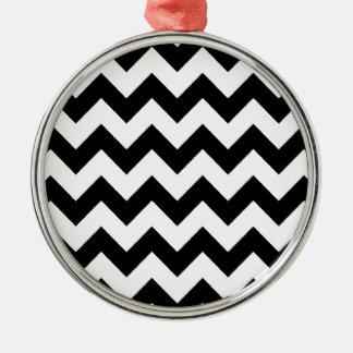 elegant black and white chevron stripes metal ornament