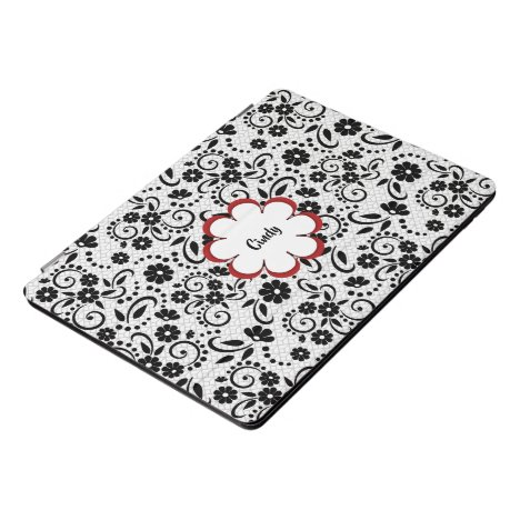 Elegant black and white daisies and swirls iPad pro cover