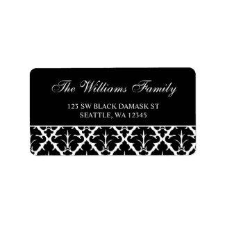 Elegant Black and White Damask Address Labels