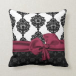 Elegant Black and White Damask and Plum Bow Pillow