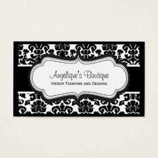 Elegant Black and White Damask Business Cards