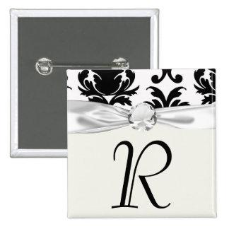 elegant black and white damask button